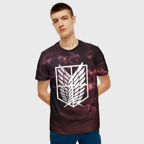 Мужская 3D футболка с принтом АТАКА ТИТАНОВ Полигоны, фото на моделе #1