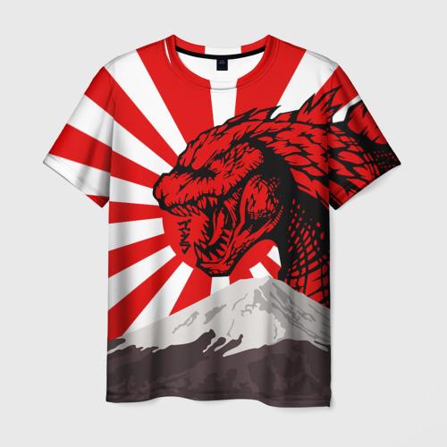 Мужская 3D футболка с принтом GODZILLA JAPAN | ГОДЗИЛЛА ЯПОНИЯ, вид спереди #2