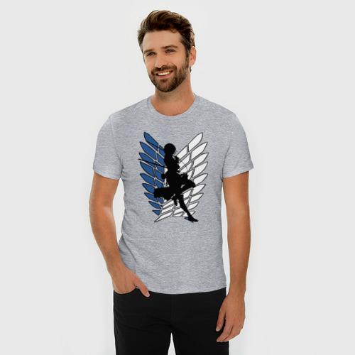 Мужская футболка премиум с принтом Mikasa, фото на моделе #1