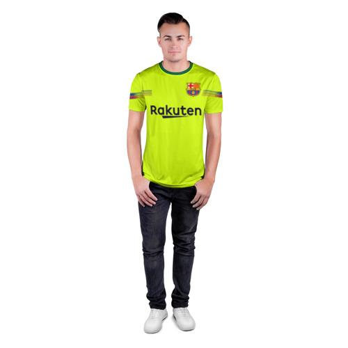Мужская футболка 3D спортивная с принтом Coutinho away 18-19, вид сбоку #3