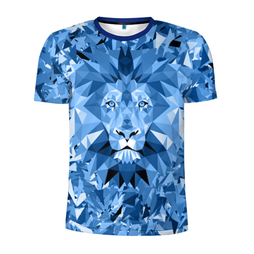 Мужская футболка 3D спортивная Сине-бело-голубой лев