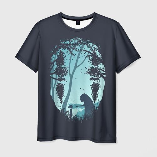 Мужская 3D футболка с принтом Силует лица Каонаси, вид спереди #2