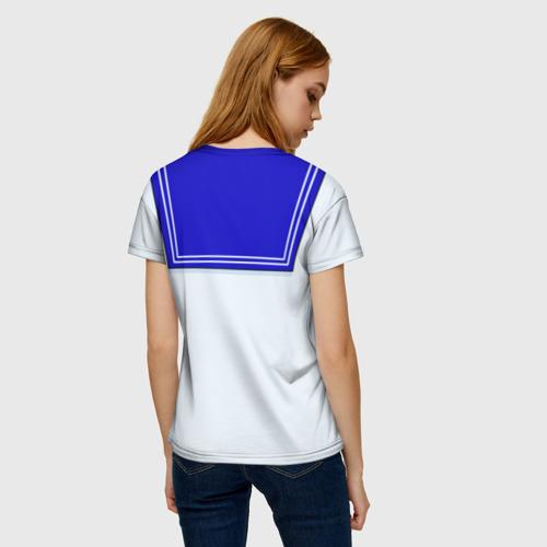 Женская 3D футболка с принтом Матроска, вид сзади #2
