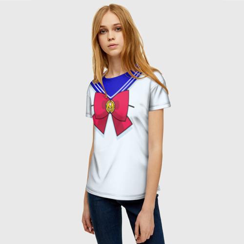 Женская 3D футболка с принтом Матроска, фото на моделе #1
