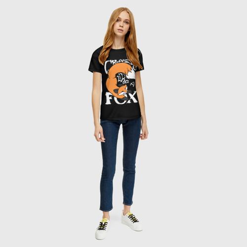 Женская 3D футболка с принтом Crazy Like a Fox, вид сбоку #3