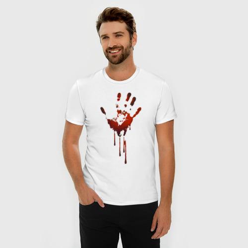 Мужская футболка премиум с принтом Отпечаток руки, фото на моделе #1