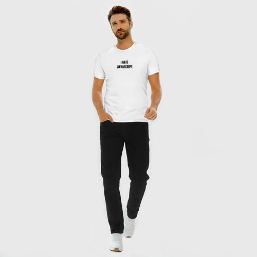 Мужская футболка премиум с принтом Белая футболка \I HATE JAVA\, вид сбоку #3
