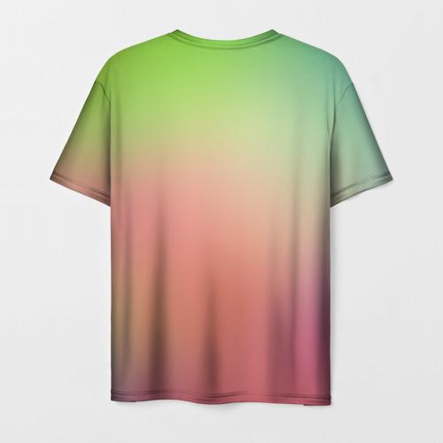 Мужская 3D футболка с принтом Единорог на Старте, вид сзади #1