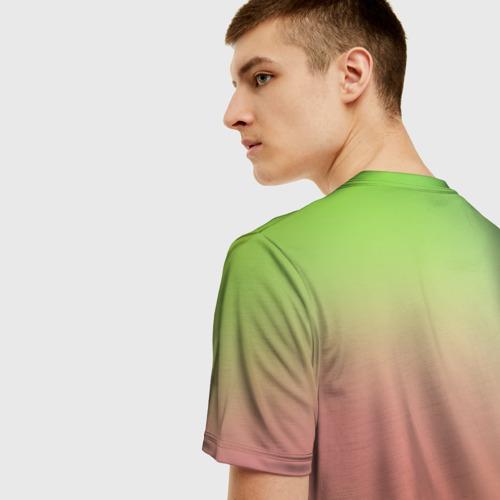 Мужская 3D футболка с принтом Единорог на Старте, вид сзади #2