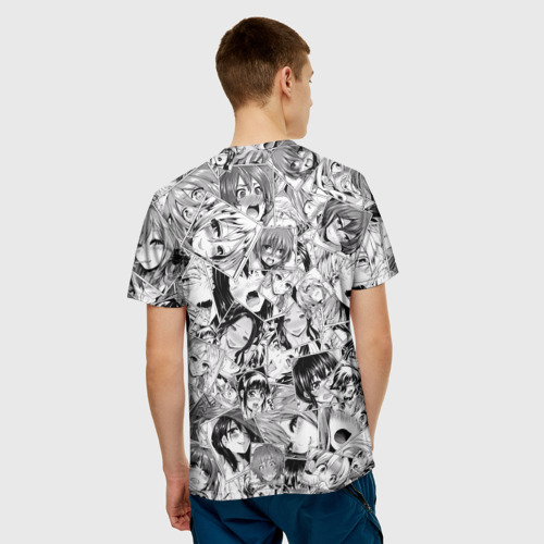Мужская 3D футболка с принтом Manga ahegao, вид сзади #2