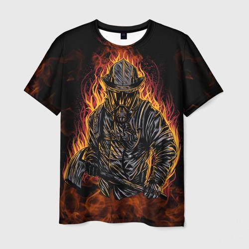 Мужская 3D футболка Пожарный