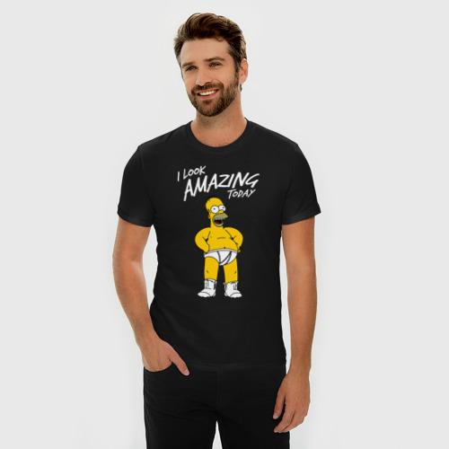 Мужская футболка премиум с принтом Гомер Симпсон, фото на моделе #1