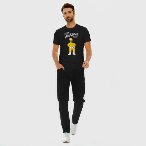 Мужская футболка премиум с принтом Гомер Симпсон, вид сбоку #3