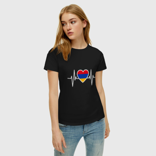 Женская футболка с принтом Пульс Армении, фото на моделе #1