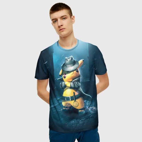 Мужская 3D футболка с принтом Пикачу Холмс, фото на моделе #1