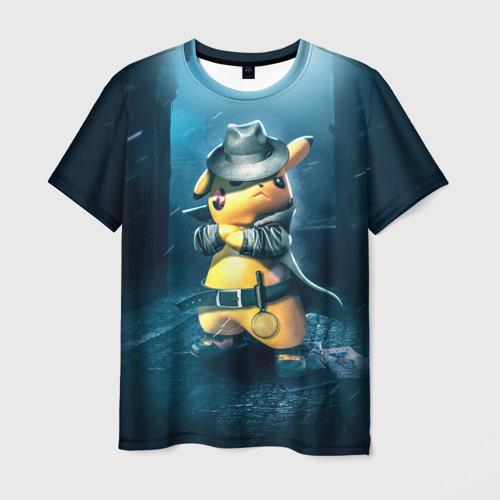 Мужская 3D футболка с принтом Пикачу Холмс, вид спереди #2