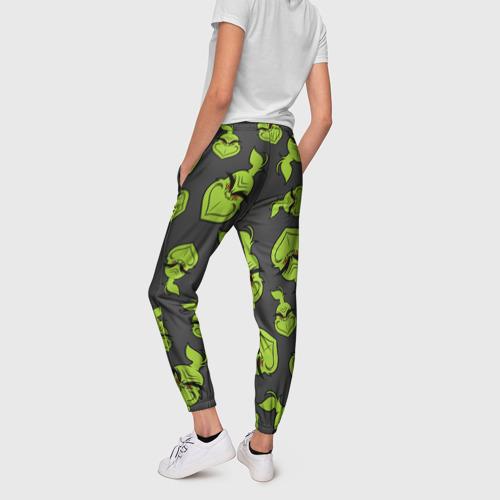 Женские брюки 3D с принтом The Grinch, вид сзади #2