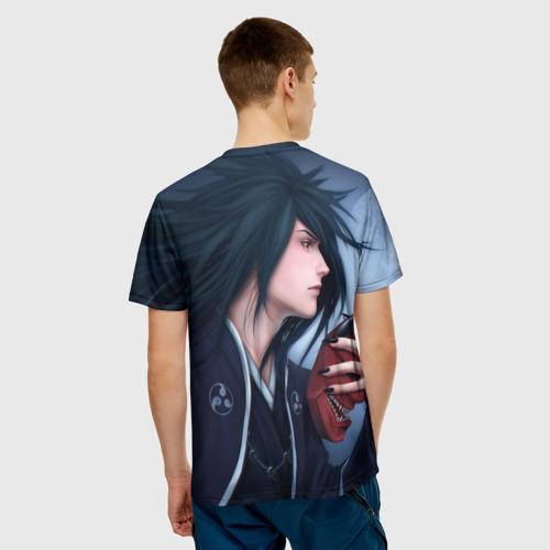 Мужская 3D футболка с принтом Madara Uchiha с луной, вид сзади #2