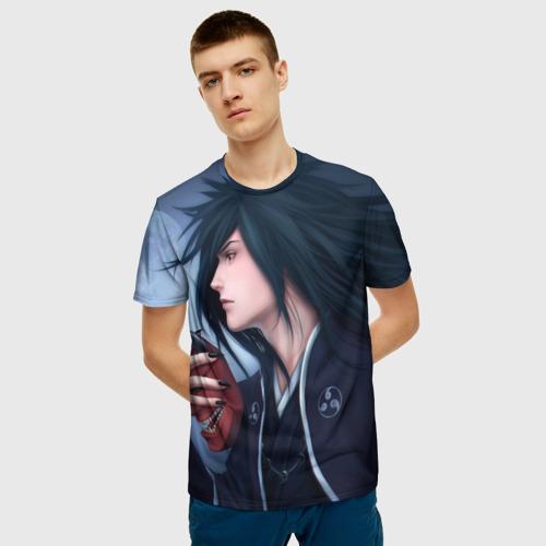 Мужская 3D футболка с принтом Madara Uchiha с луной, фото на моделе #1