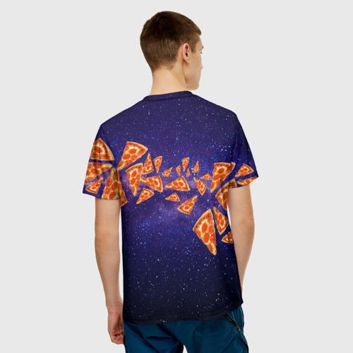 Мужская 3D футболка с принтом Пицца - Кот, вид сзади #2