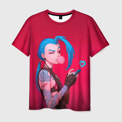 Мужская 3D футболка с принтом Jinx in love, вид спереди #2