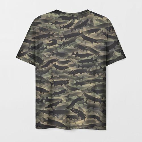 Мужская 3D футболка с принтом Камуфляж с щуками, вид сзади #1