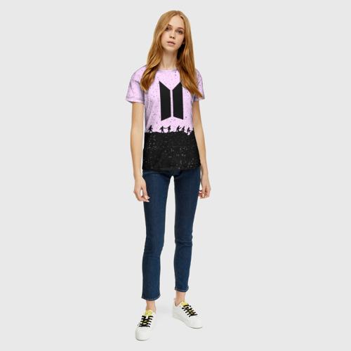Женская 3D футболка с принтом BTS, вид сбоку #3