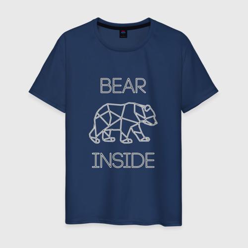 Мужская футболка с принтом Внутри медведь, вид спереди #2