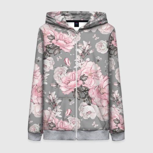 Женская толстовка на молнии Розовые розы