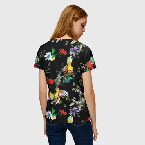Женская 3D футболка с принтом Попугаи, вид сзади #2
