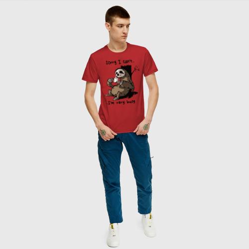 Мужская футболка с принтом I am very busy   Извини, я очень занят, вид сбоку #3