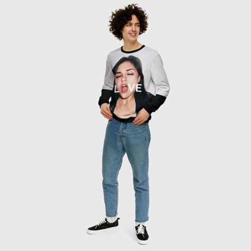 Мужской 3D свитшот с принтом Sasha Grey LOVE, вид сбоку #3