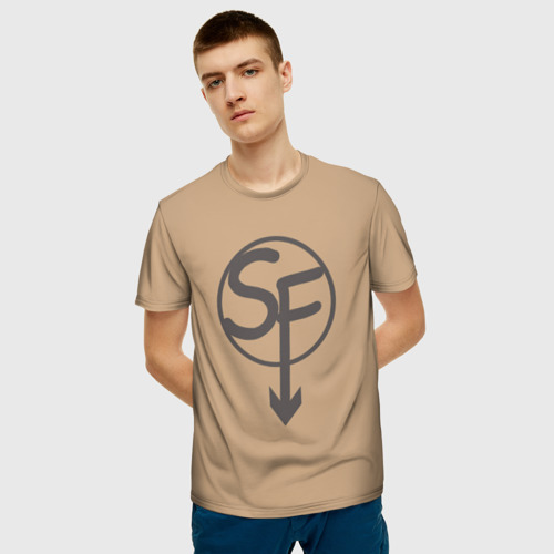 Мужская 3D футболка с принтом Ларри Sanity`s Fall ориг цвет, фото на моделе #1
