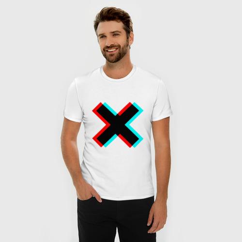 Мужская футболка премиум с принтом X - Глитч, фото на моделе #1