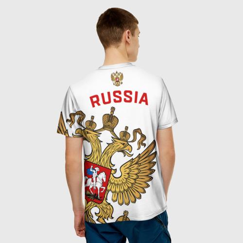 Мужская 3D футболка с принтом Россия, вид сзади #2