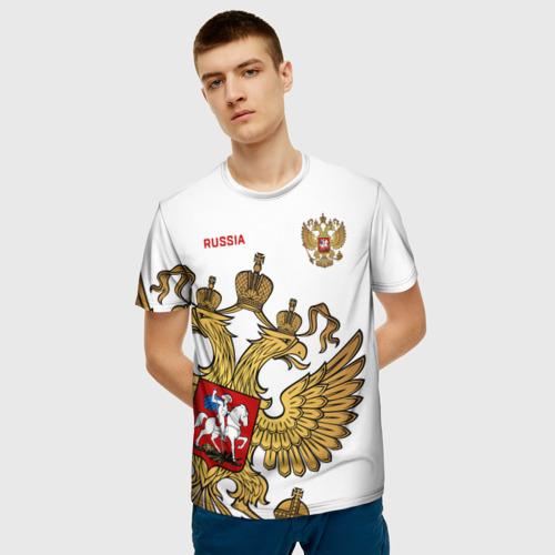 Мужская 3D футболка с принтом Россия, фото на моделе #1
