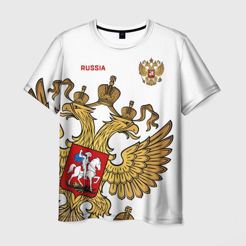 Мужская 3D футболка с принтом Россия, вид спереди #2