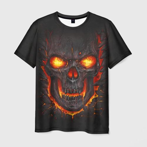 Мужская 3D футболка Skull Lava