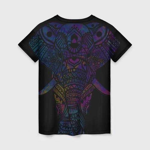 Женская 3D футболка с принтом Слон, вид сзади #1
