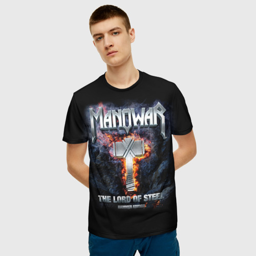 Мужская 3D футболка с принтом Manowar, фото на моделе #1