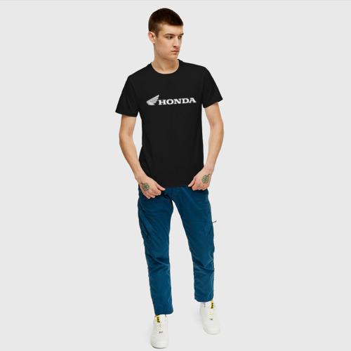 Мужская футболка с принтом HONDA   ХОНДА, вид сбоку #3