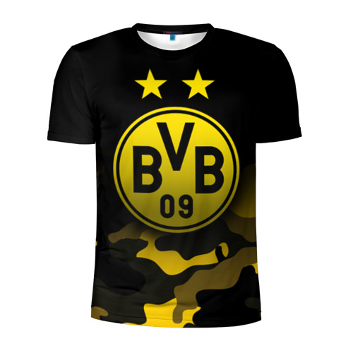 Мужская футболка 3D спортивная с принтом Боруссия Дортмунд, вид спереди #2
