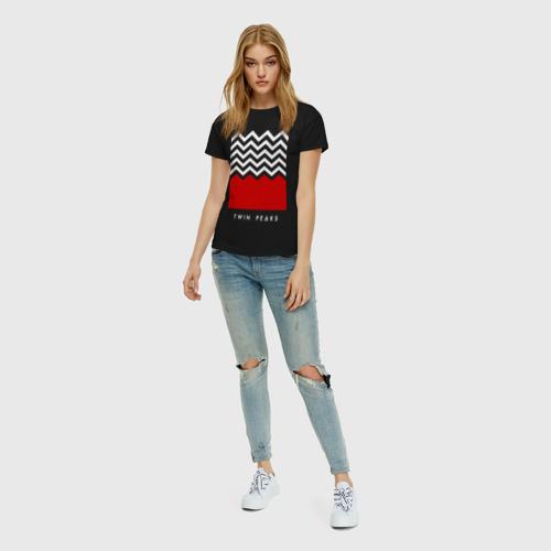 Женская футболка с принтом Твин Пикс, вид сбоку #3
