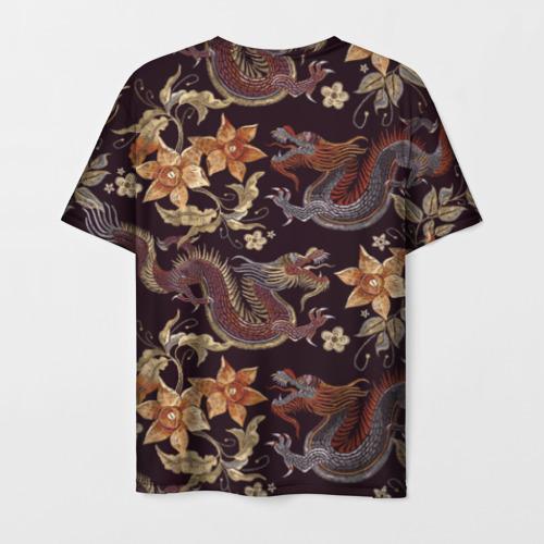 Мужская 3D футболка с принтом Японские драконы, вид сзади #1
