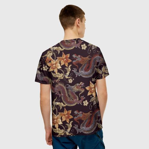 Мужская 3D футболка с принтом Японские драконы, вид сзади #2