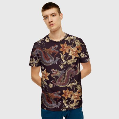 Мужская 3D футболка с принтом Японские драконы, фото на моделе #1