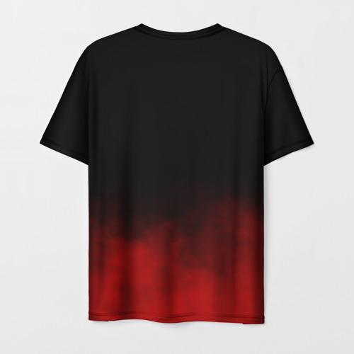 Мужская 3D футболка с принтом Акаме в красной дымке, вид сзади #1