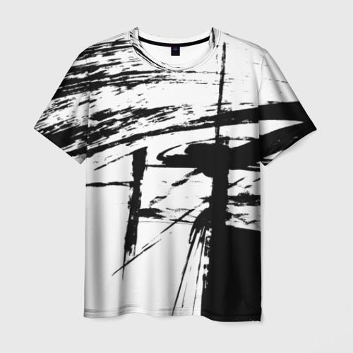 Мужская 3D футболка Черно-белая футболка