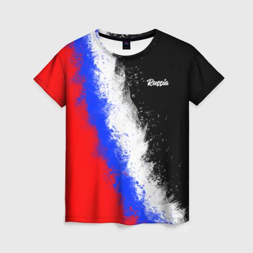 Женская 3D футболка Россия Краски