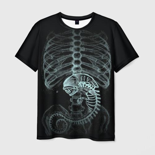 Мужская 3D футболка с принтом Чужой на Рентгене, вид спереди #2